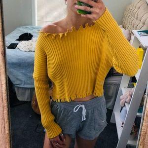 Princess Polly Ribbed Yellow Sweater